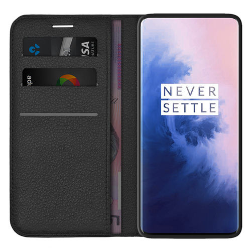 Leather Wallet Case & Card Holder Pouch for OnePlus 7 Pro - Black